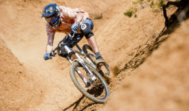 Mountainbiker on the desert